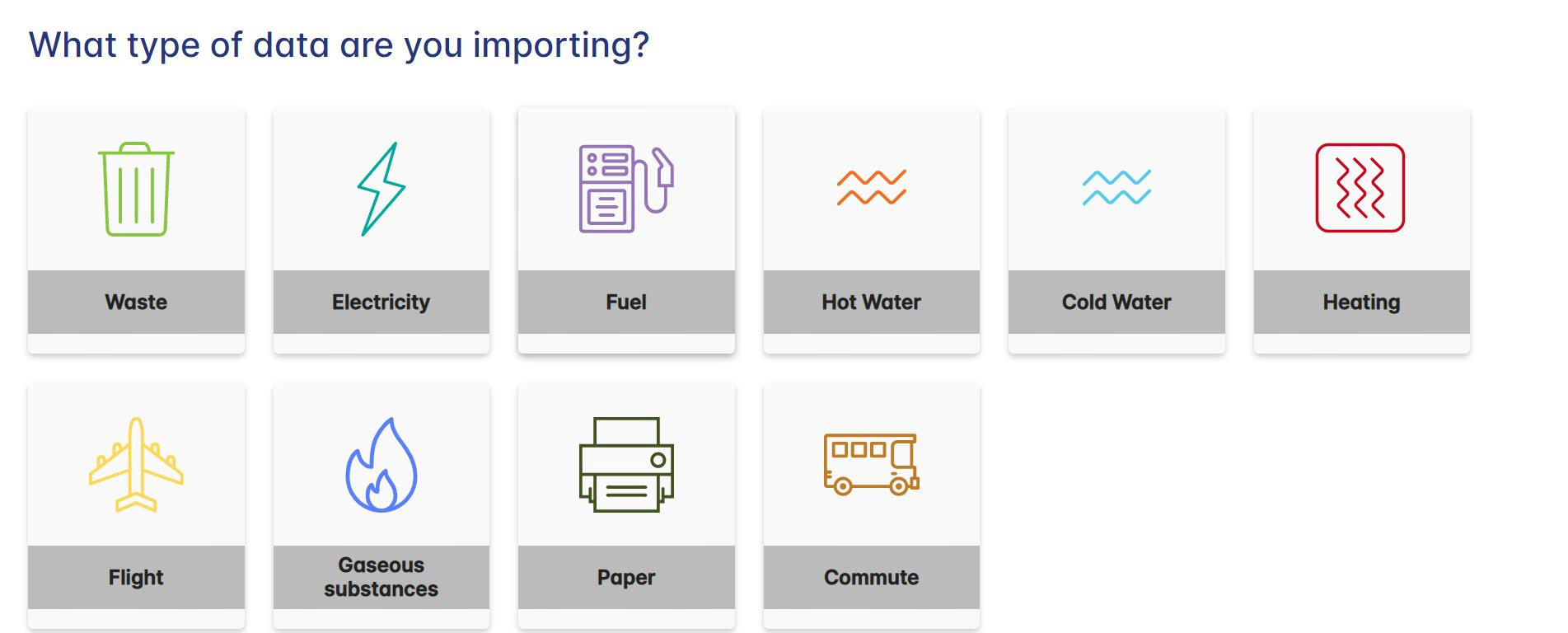 Data Importing data categories