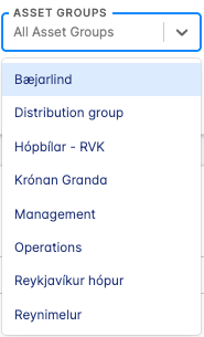 asset groups selection
