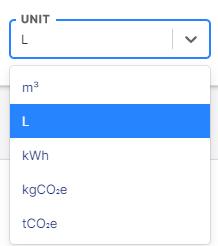 Unit of measure drop-down list