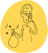 cartoon of man holding stinky garbage bag