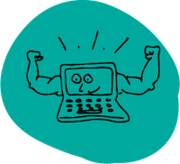 Cartoon of computer with muscular arms